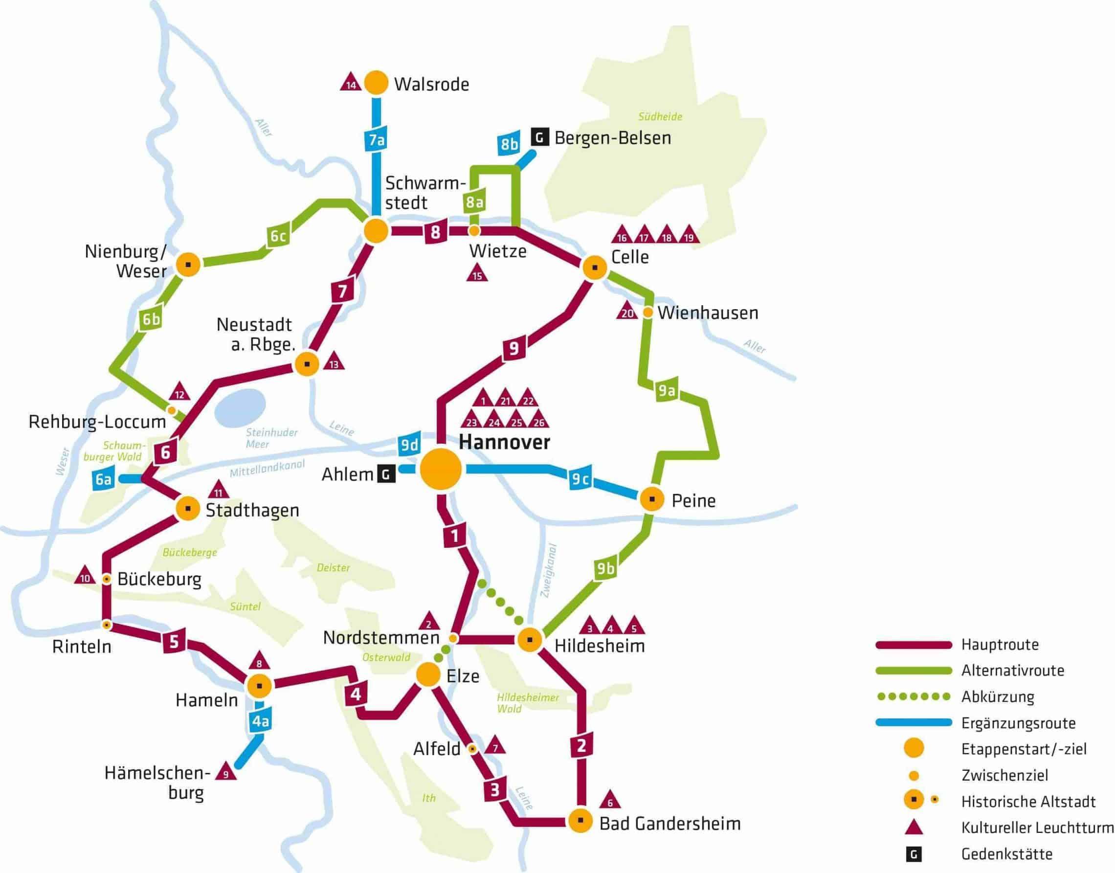 Style Hannover Stadtkind Übersichtskarte Kulturroute - Kulturroute - Mit dem Rad durch Hannover und Umgebung