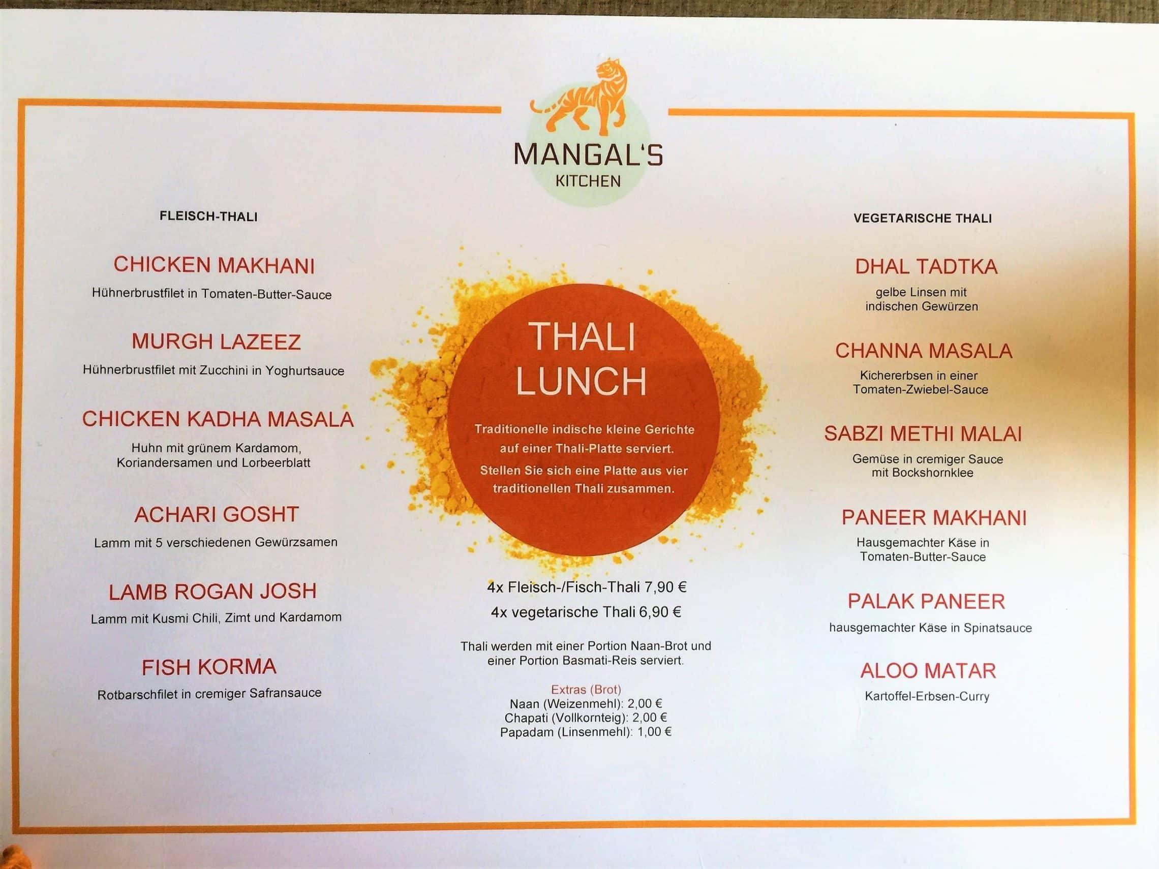 Style Hannover Mangals Kitchen Speisekarte Mittag - Thali Lunch in Mangal's Kitchen